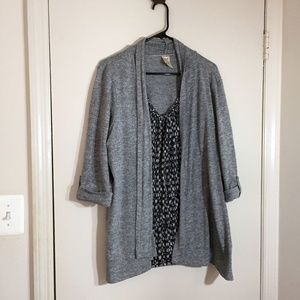 Grey cardigan/tank combo (attached)
